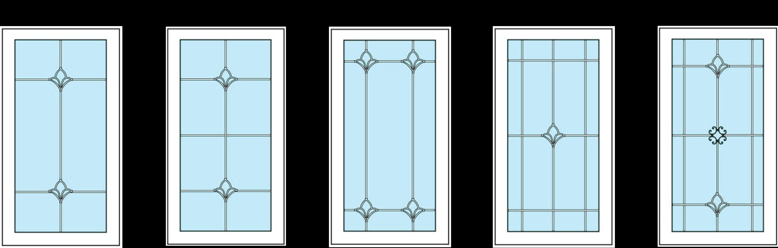 варианты оформления стеклопакетов Л001-Л005